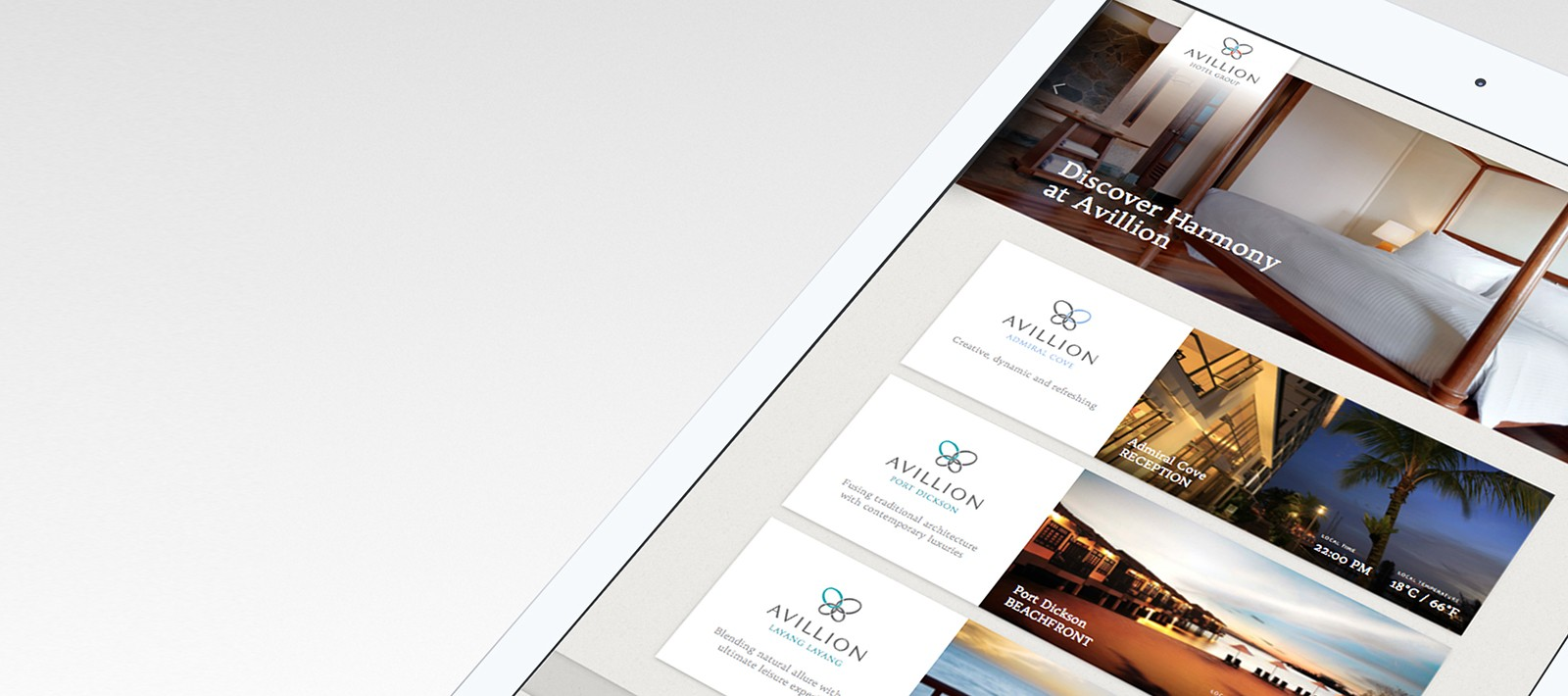 Avillion hospitality user interface design